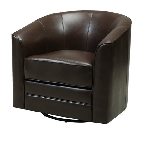 Pemberly Row Jigsaw Brown Swivel Faux Leather Accent Chair with Welt Trim ()