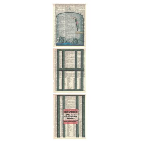 Art N Wordz Water Tower Diver 3 Piece Triplicate Original Dictionary Sheet Pop Art Wall or Desk Art Poster Triptych Prints