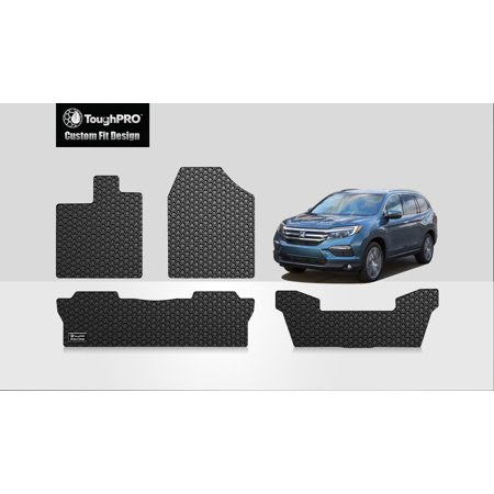 ToughPRO - HONDA Pilot Front, 2nd & 3rd Row Mats - All Weather - Heavy Duty - Black Rubber - 2019 (Front, 2nd & 3rd Row Mats)