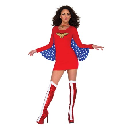 Adult's Womens Classic DC Comics Wonder Woman Cape Dress - Costumes With Red Capes