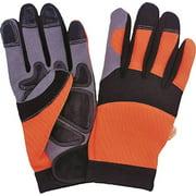 Diamondback Work Gloves, Large, Microfiber, Spandex, Safety Orange