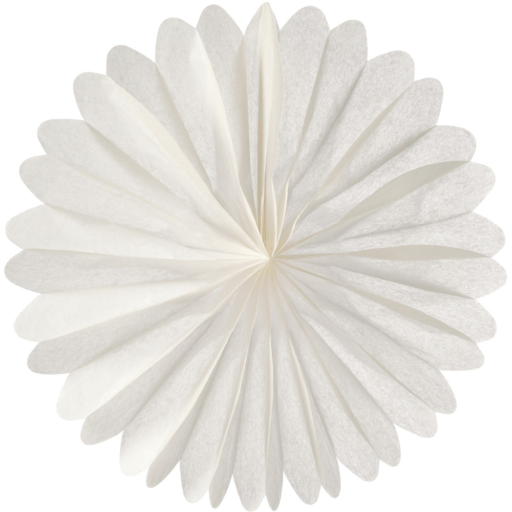 Luna Bazaar Hanging Paper Fan (19-Inch, White) - Rice Paper Honeycomb Decorations - For Home Decor, Parties, and Weddings