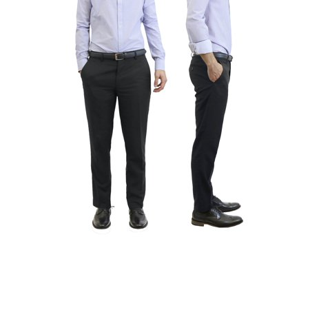 Mens Slim Fit Belted Dress Pants