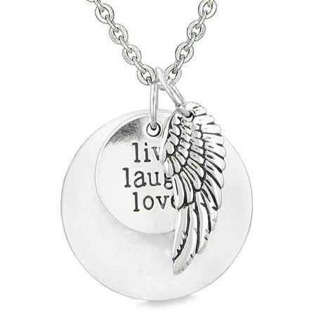 Quartz Medallion (Guardian Angel Wing Live Laugh Love Inspirational Medallion Magic Amulet White Quartz 22 Inch Necklace)