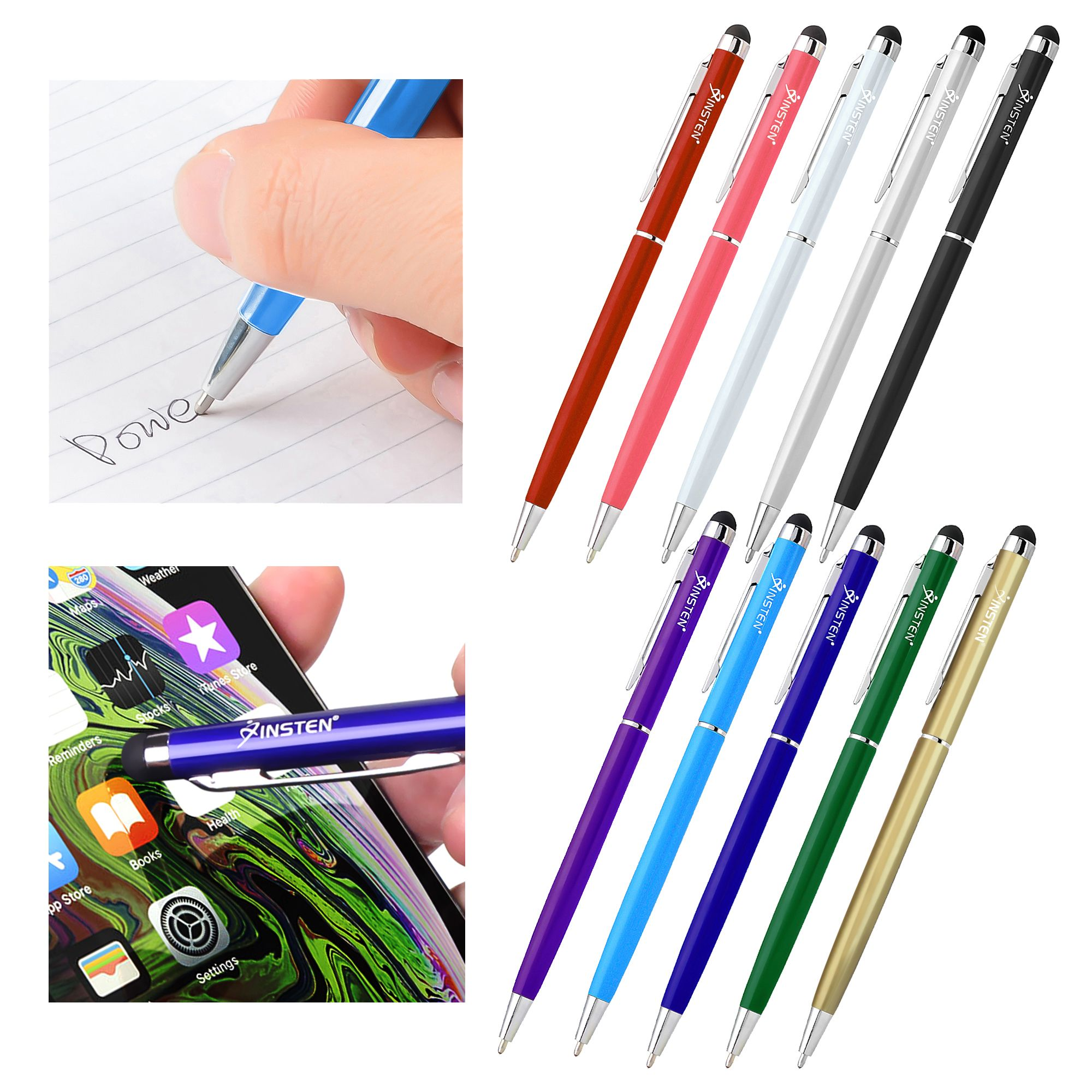Insten 10pcs 2-in-1 Stylus Pens for Tablets Touch Screen with Ball Pen For iPad iPhone XS XS Max XR 7 6 Plus Samsung Galaxy S10 Plus S10e Tab E View Ematic HIGHQ Sprout Channel Dragon Touch Nextbook