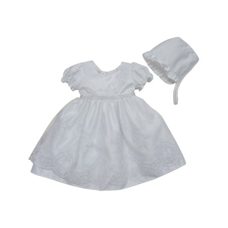 Baby Girls White Glitter Accent Satin Organza Bonnet Christening Gown
