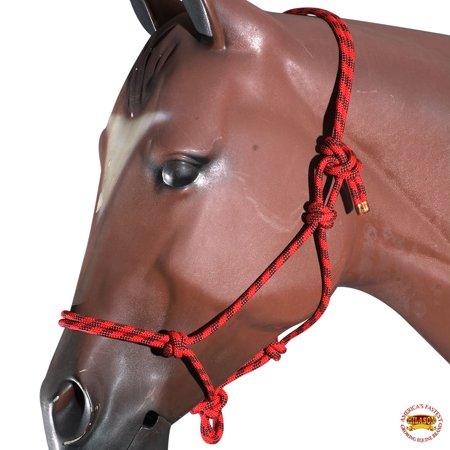 Red Black Horse Halter Braided Poly Rope Western Tack By Hilason Black Leather Horse Halter