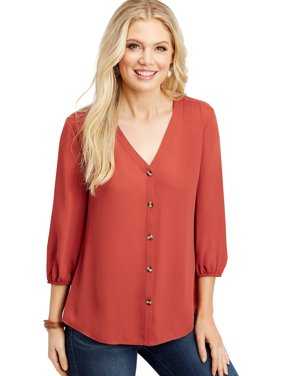 Solid Button Down Blouse