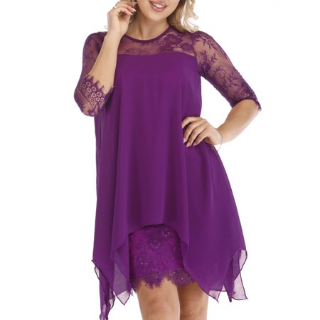 UKAP Women's Dress Lace Chiffon Overlay Sleeveless Oversize Plus Size Dress Tunic Swing Mini Dress S-5XL](Satin Dress With Lace Overlay)
