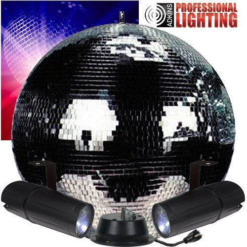 "20"" Disco Mirror Ball Complete Party Kit with 2 LED Pinspots and Motor DJ Lighting by Adkins Pro Audio & Lighting"