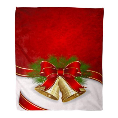 SIDONKU Flannel Throw Blanket Red Jingle Christmas Two Bells Green Gold Merry Ribbon Bow Vintage 58x80 Inch Lightweight Cozy Plush Fluffy Warm Fuzzy Soft