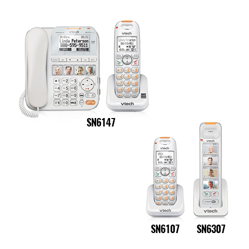 VTech SN6147 + SN6307 + SN6107 Corded Cordless CareLine Bundle