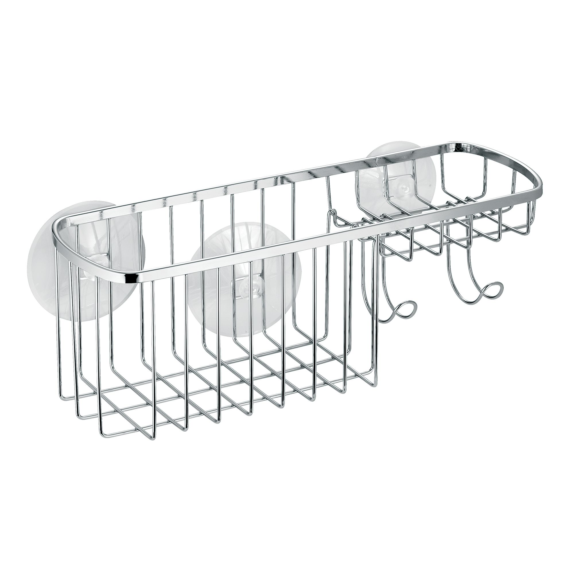 InterDesign Suction Bathroom Shower Caddy Combo Organizer Basket for Shampoo, Conditioner, Soap, Polished Stainless Steel