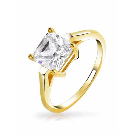 Simple 2.5 CT Brilliant Princess Cut AAA CZ Solitaire Engagement Ring Thin Band 14K Rose Gold Plated 925 Sterling Silver