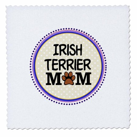 3dRose Irish Terrier Dog Mom - Doggie mama by breed - paw print mum love doggy lover proud pet owner circle - Quilt Square, 10 by 10-inch Doggie Dog Quilt Bed