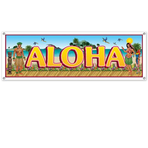 "Club Pack of 12 Tropical ""Aloha"" Hawaiian Luau Outdoor Party Banner Signs 5'"