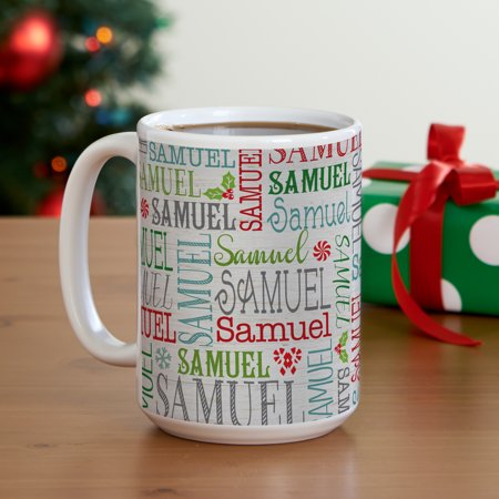 Personalized Holly Jolly Name Christmas Mug - Personalized Christmas Mugs