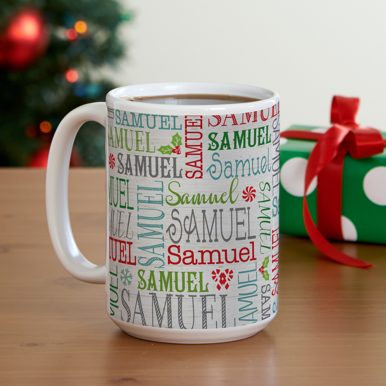 Personalized Holly Jolly Name Christmas Mug