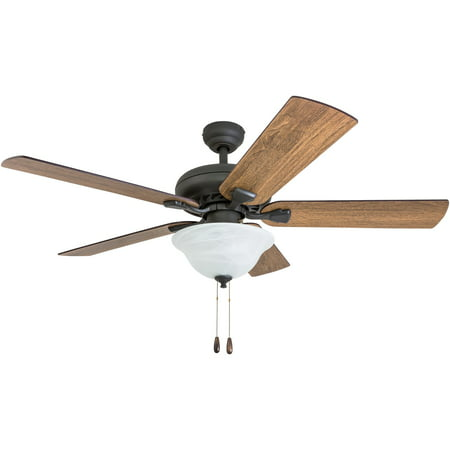 Prominence Home 50658-35 Boulder Ridge Farmhouse 52-Inch Aged Bronze Indoor Ceiling Fan, LED Bowl Light with Barnwood/Tumbleweed Blades