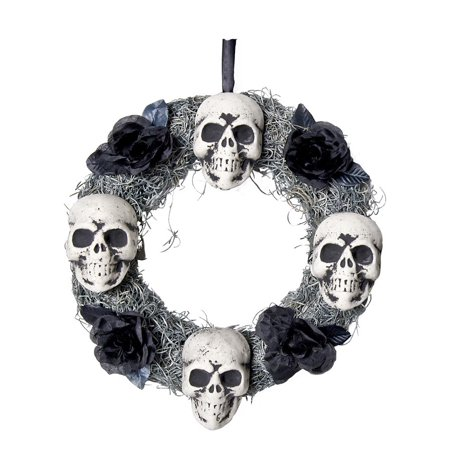4 Skulls Wreath Halloween Decoration - Halloween Feather Wreath Tutorial