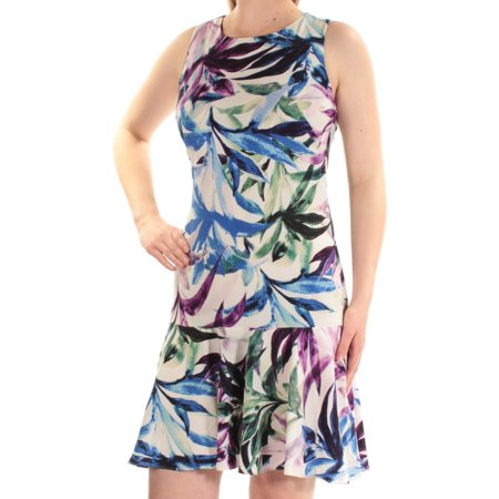 AMERICAN LIVING Womens Blue Printed Sleeveless Jewel Neck Above The Knee Drop Waist Dress  Size: