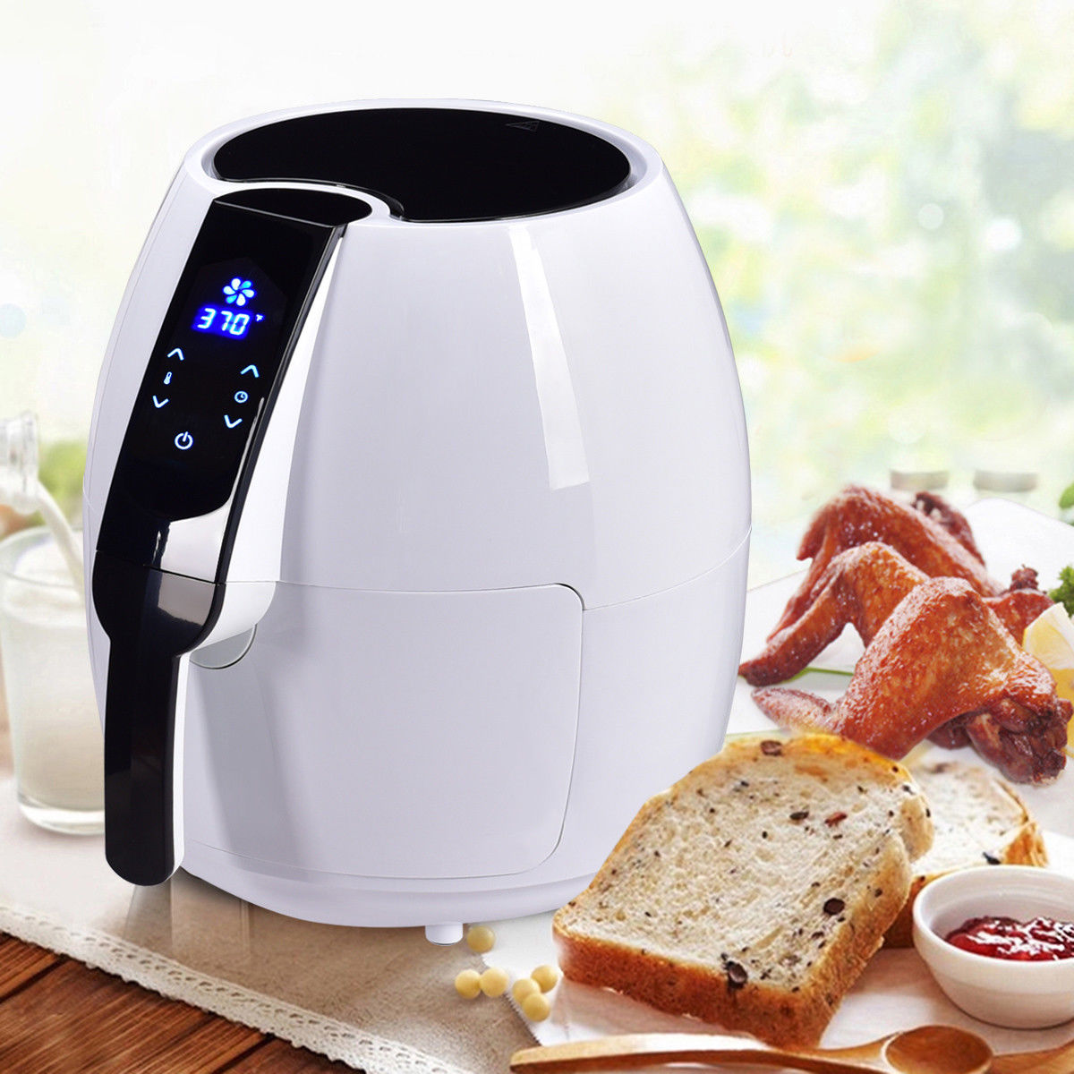 Costway 1500W Electric Air Fryer 4.8 Quart Touch LCD Screen Timer Temperature Control