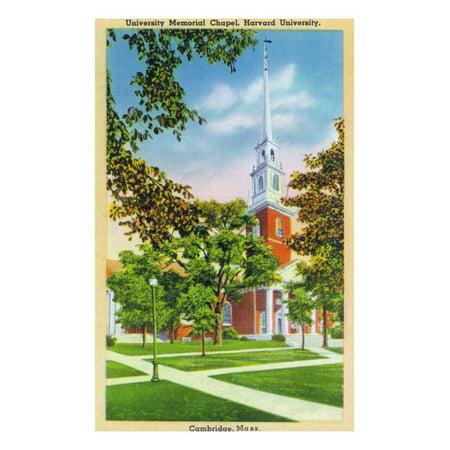 Cambridge, Massachusetts - Harvard, Exterior View of the University Memorial Chapel, c.1936 Print Wall Art By Lantern Press