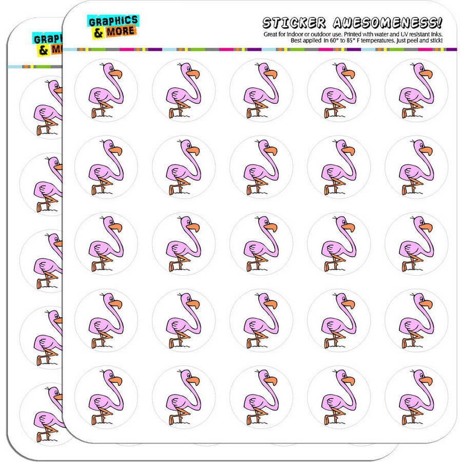 "Pink Flamingo 50 1"" Planner Calendar Scrapbooking Crafting Stickers"