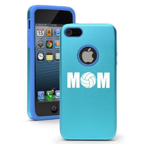 Apple iPhone 6 Plus / 6s Plus Shockproof AS Aluminum & Silicone Hard Soft Case Cover Mom Volleyball (Light Blue),Daylor