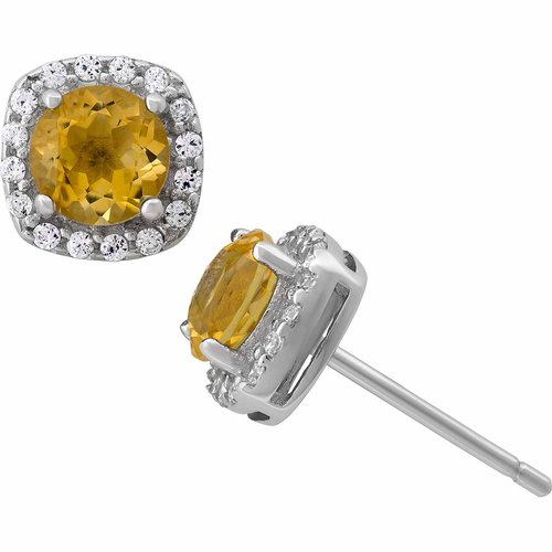 Citrine and White CZ Sterling Silver Round Halo 5mm Stud Earrings