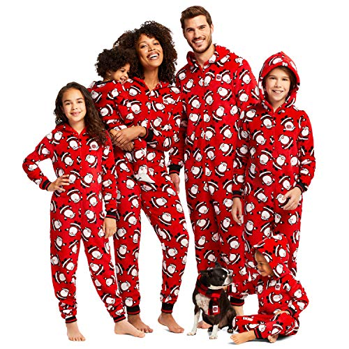 Jammin Jammies Family Holiday Pajamas Onesie with Hood and Matching Slippers Red Fun