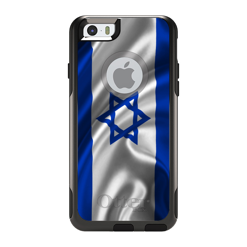 "DistinctInk™ Custom Black OtterBox Commuter Series Case for Apple iPhone 6 Plus / 6S Plus (5.5"" Screen) - Israel Israeli Waving Flag"