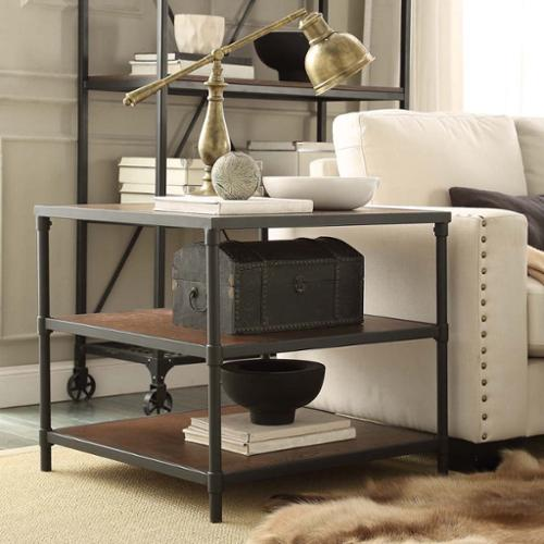 Tribecca Home  Harrison Industrial Rustic Pipe Frame Accent End Table