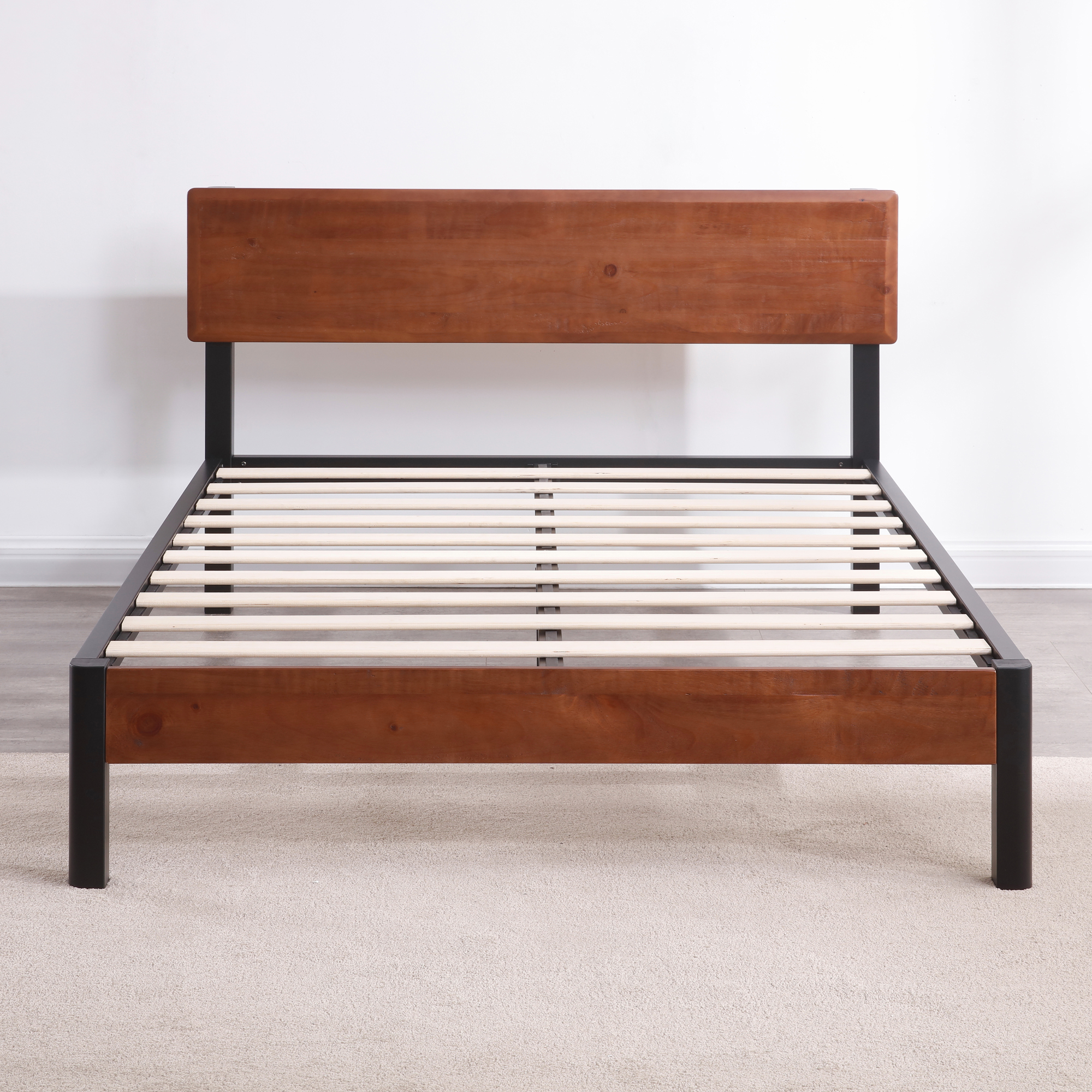 Modern Sleep Portland Wood Slat and Metal Platform Bed Frame with Solid Wood Headboard | Mattress Foundation, Multiple Sizes