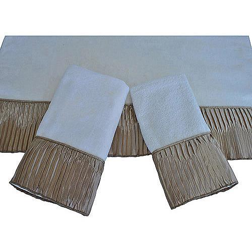 Easy Living Vertical Pleats Ecru 3-Piece Decorative Towel Set