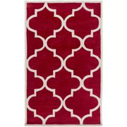 5' x 8' Majestic Trellis Crimson Red and Cream Area Hand Tufted Area Throw Rug