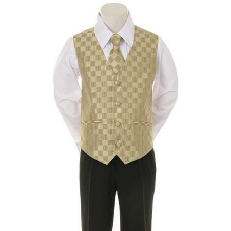 Kids Dream Gold Checkered Vest Necktie Special Occasion Boys Suit 5-20 for $<!---->