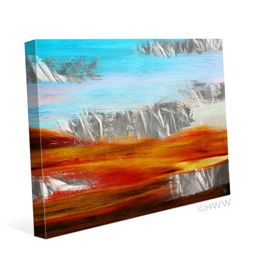 Click Wall Art Abstract Metallic Landscape Painting Print on Wrapped Canvas