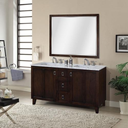 Infurniture Carrara White Marble Top Double Sink Bathroom Vanity