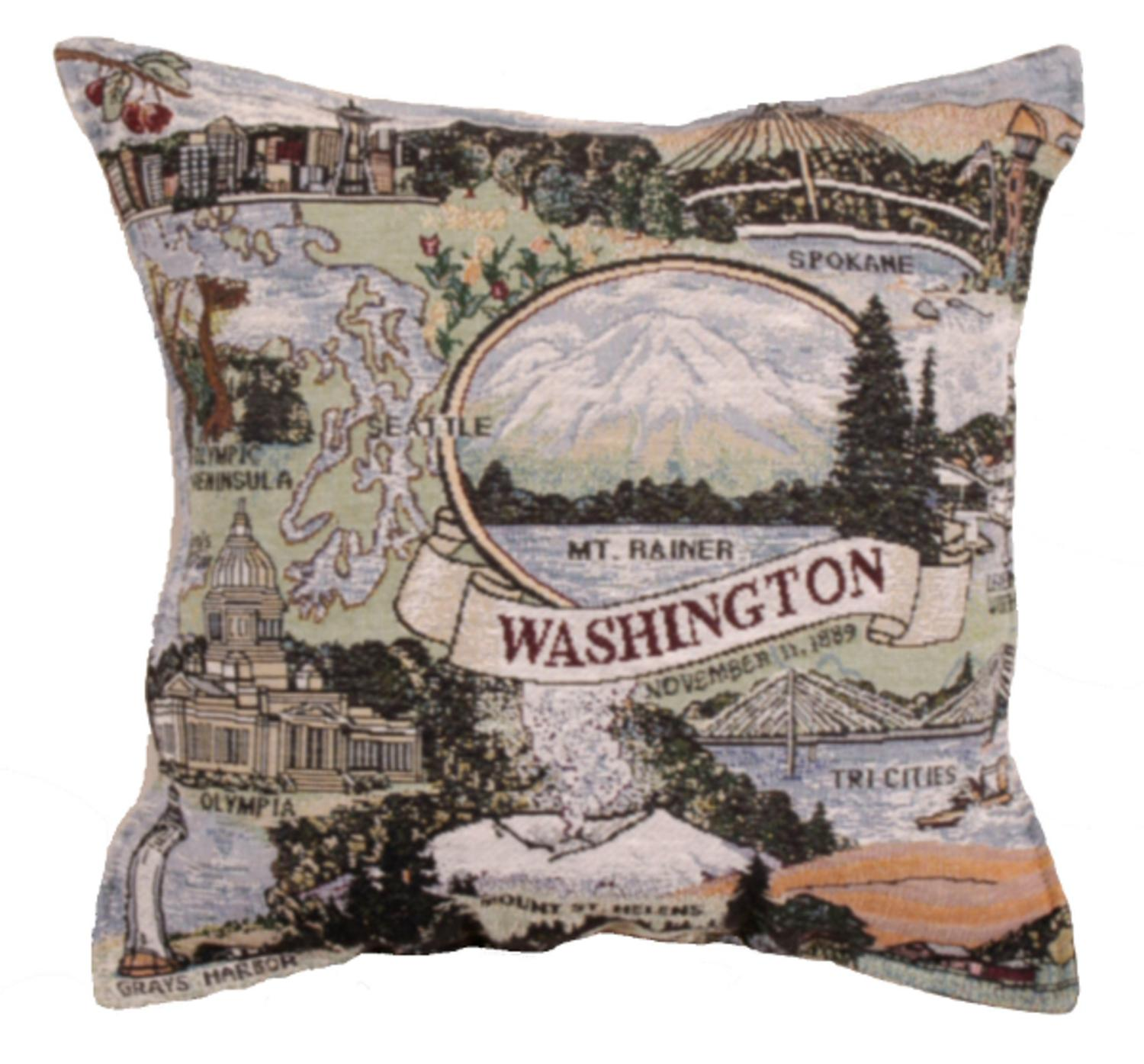 "17"" State of Washington Tapestry Throw Pillow"