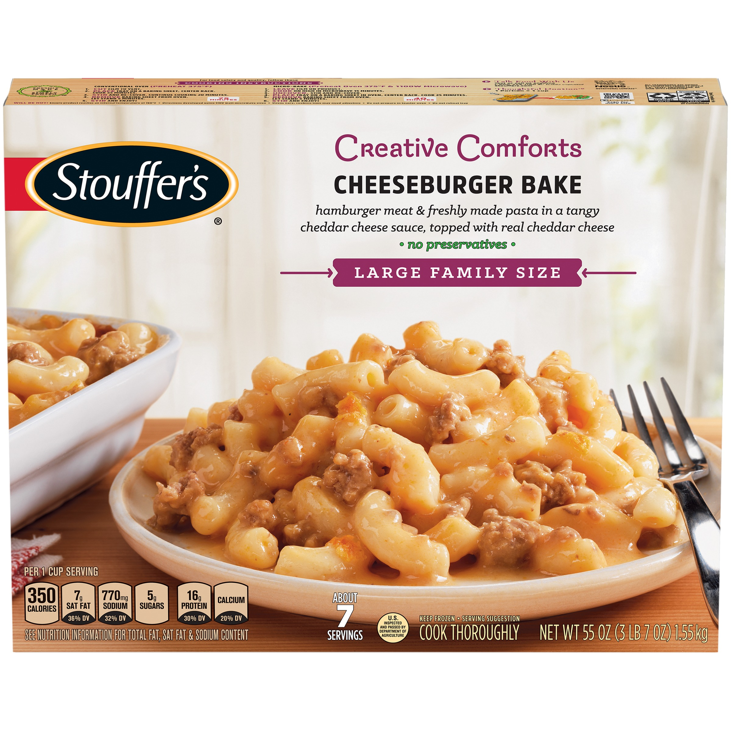 STOUFFER'S Large Family Size Cheeseburger Bake 55 oz. Box