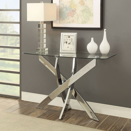 Pastel Table Base - Furniture of America Myron Contemporary Style Chrome Base Sofa Table