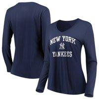 Women's Majestic Navy New York Yankees Heart & Soul Long Sleeve V-Neck T-Shirt