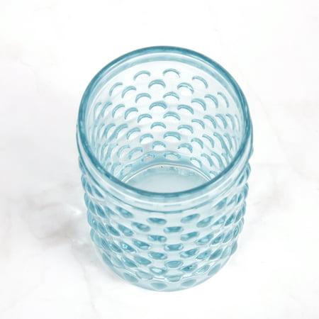 Creative Home Transparent Blue Dot Glass Tumbler Toothbrush Holder,