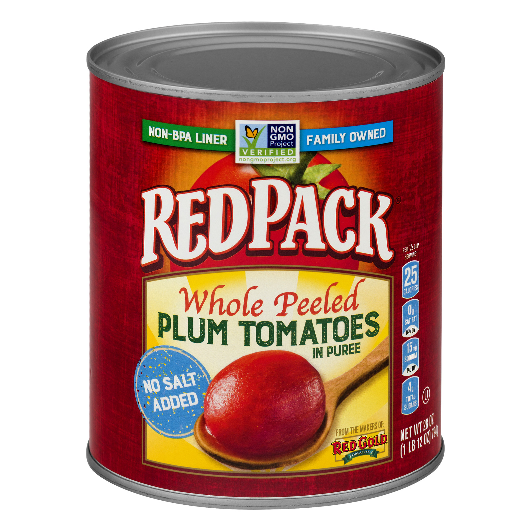 Redpack Tomatoes Plum Whole Peeled In Puree No Salt Added, 28.0 OZ