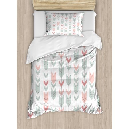 Geometric Duvet Cover Set, Abstract Design with Chevron Triangles and Stripes Dots Modern Image, Decorative Bedding Set with Pillow Shams, Pale Blue and Pink, by Ambesonne ()