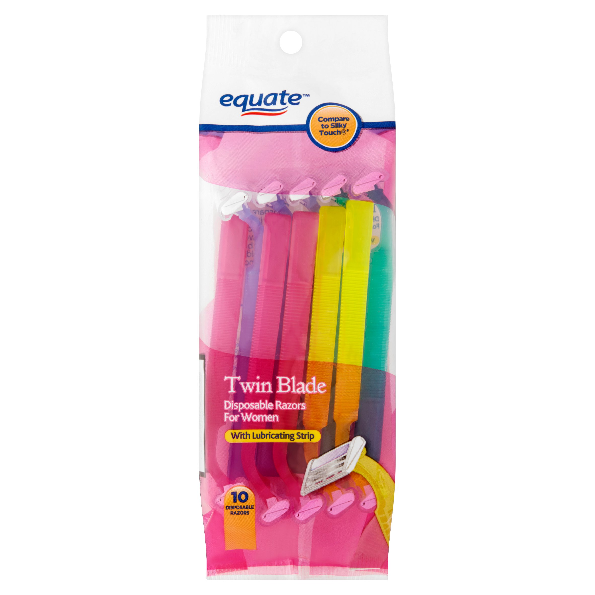 (4 Pack) Equate Twin Blade Disposable Razors for Women, 10 Ct