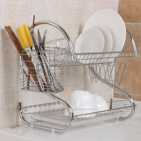 2 Tier Plate Holder Chrome Plate Dish Cup Cutlery Drainer Rack Drip Tray Plates Storage Holder Home Kitchen