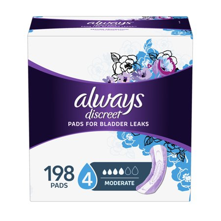 Always Discreet Incontinence Pads for Women, Moderate Absorbency, 198 Count