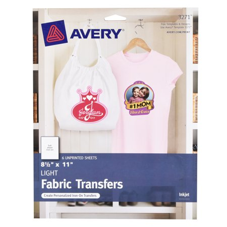 Avery Fabric Transfer Light 6pc Fabric Craft Papers